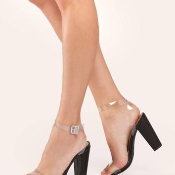 Clear Band Buckled Ankle Strap Chunky Heel Sandals