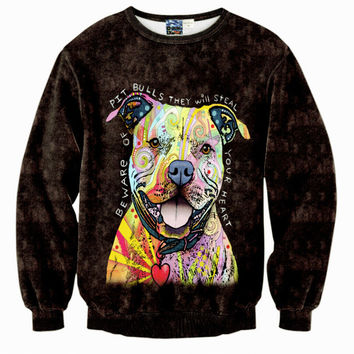 Jumper Outfits Sweatshirt Men/Women Hoodies 3d Print Pit Bulls Dog Long Sleeve Fleece Velvet Sweatshirt Winter Warm Hoodies