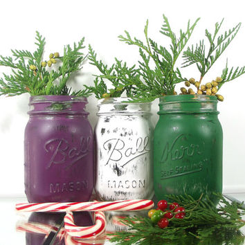 Holiday Decor, Christmas Decor, Colored Mason Jars, Cute Home Decor, Christmas Decorations, Tabletop Decor, Farmhouse Decor