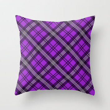 Scottish Plaid (Tartan) - Purple Throw Pillow by ts55 | Society6