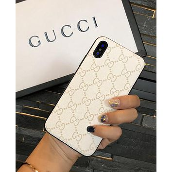 GUCCI Hot Sale Popular GG Letter Silicone Mobile Phone Cover Case For iphone 6 6s 6plus 6s-plus 7 7plus 8 8plus X White