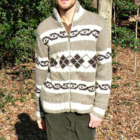 Full Zip Cardigan by American Eagle - Thick Knit Wool Blend - Tan w/ White & Brown - Fair Isle Stripe - Men's Size Extra Large (XL)