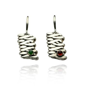 Jade and Garnet Cabochon Silver Earrings