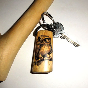 Owl keychain, Observe and reflect, and become a little wiser every day. Natural key chain tree branch. Famous quotes key ring. Popular items