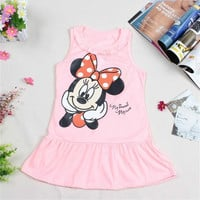 Hot Sale New 2016 Kids girls dress cute cartoon clothes, 2 colors of red and pink nice Clothes, lovely baby girls dress