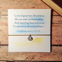 """Inspirational Friendship Bracelet with Card and Footprint Charm 