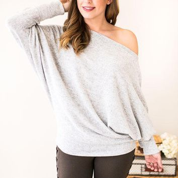 Slay It With Me Off Shoulder Knit Top- Heather
