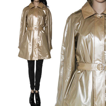 90s Gold Pearl Raincoat Belted Trench Style PVC Vinyl Winter Outerwear Club Kid Hipster Minimalist Clothing Womensw Size Medium Large