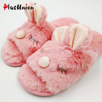 cartoon animal indoor women furry cute rabbit slippers winter fluffy cosplay house home slipper with fur unisex anime shoes