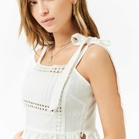 Crochet Linen-Blend Crop Top