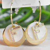 Fendi Women Fashion New More Diamond Letter Long Earring Jewelry