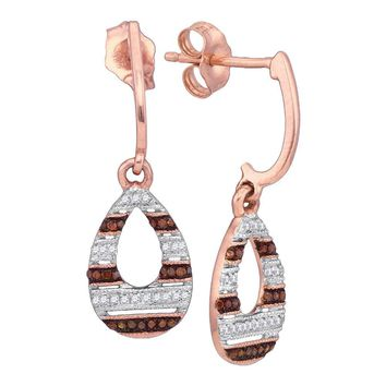10kt Rose Gold Womens Round Red Color Enhanced Diamond Teardrop Dangle Earrings 1/5 Cttw