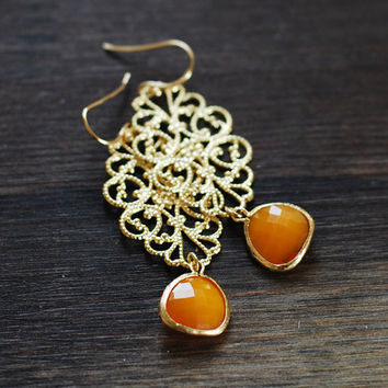 Mustard Orange Framed Glass Stone Drop Earrings, Gold Lace Filigrees Dangle Earrings, Bridesmaid Earrings,Wedding jewelry, Gift for Her