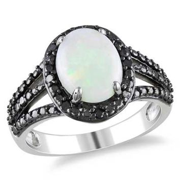Opal and 1/10 CT. T.W. Enhanced Black Diamond Split Shank Frame Ring in Sterling Silver