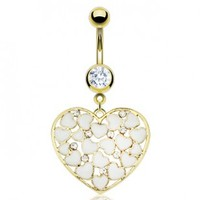 Gold Plated Over 316L Surgical Steel Belly Ring with Multi White Enamel Hearts & CZs in a Heart Loop - 14G - 3/8