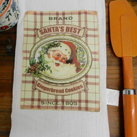 Christmas Towel Santa Flour Sack Kitchen Towel  Hostess Christmas Holiday Gift