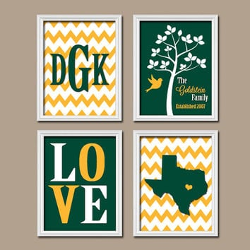 Green Gold Waco Custom Family Monogram University College Graduation Gift Texas State LOVE Tree Wedding Date Canvas Set of 4 Prints Wall Art