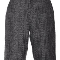 Sea Embossed Cable Long Short Gray
