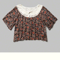 Floral Cropped Lace Peasant Tee