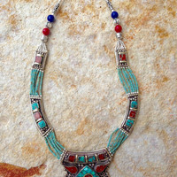 Silver and Turquoise Handmade Beaded Tribal Necklace