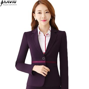 New slim women blazers and jackets OL 2016 winter Fashion formal work long sleeve outerwear office plus size ladies blazer