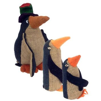 Jute Penguin Figurines from Bolivia 3 Sizes
