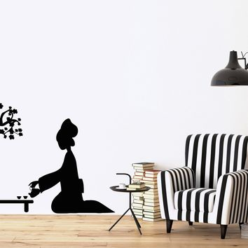Vinyl Decal Oriental  Wall Stickers Geisha and Japanese Tea Ceremony Cherry Blossoms Unique Gift (n373)