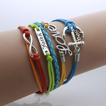 Infinity, Falith, Love and Anchor Pendant Bracelet