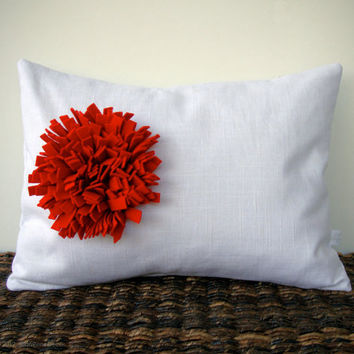 Red Felt Flower White Linen 12in x 16in PILLOW COVER by JillianReneDecor Home Decor Gift for Her Under 50 Mother's Day
