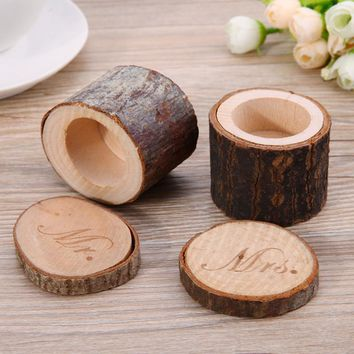 2Pcs/set Mr&Mrs Wooden Ring Box for Wedding Valentines Engagement Box Rustic Wedding Ring Bearer Holder Ring Box