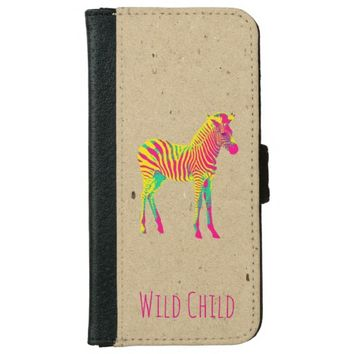 Neon Zebra Baby Animal Psychedelic Funky Retro Wallet Phone Case For iPhone 6/6s
