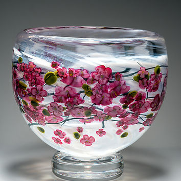 Cherry Blossom Footed Bowl on White by Shawn Messenger (Art Glass Bowl) | Artful Home