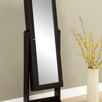 A.M.B. Furniture & Design :: Wall Mirrors :: Leaning mirrors :: Espresso finish wood free standing full length mirror with built in Jewelry cabinet armoire