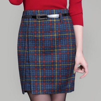 DCCKL3Z women Woolen skirts 2016 autumn and winter new lady high waist skirt female mini skirt fashion plaid skirts plus size 4XL