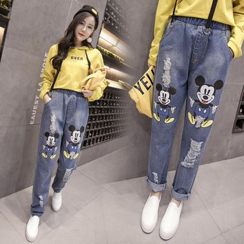 2018 Summer New Jeans Female Hole Trousers Plus Size 5XL Printing Mickey Mouse All-match Trousers Pants Women Clothes