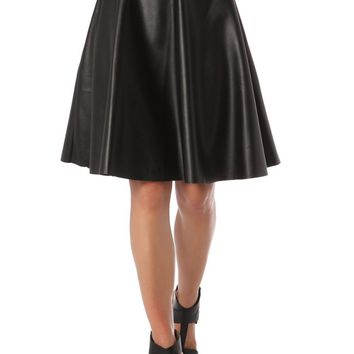 A line midi skirt in leather-look fabric