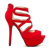 Letti-21 Nude Red Peep toe Platform Pump Stiletto Heels