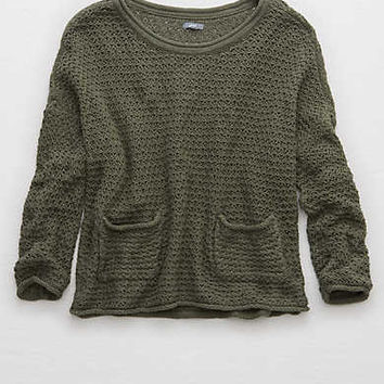 Aerie Breezy Pullover Sweater , Camo Green