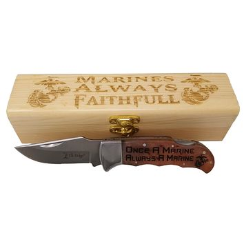 Once A Marine Knife with Marines Gift Box