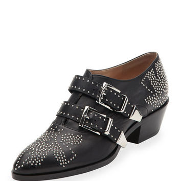 Chloe Studded Buckle 30mm Bootie, Black/Silver