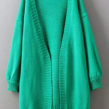 Green Puff Sleeve Long Coat