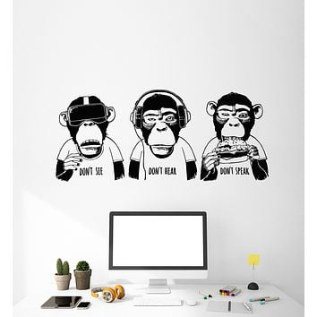 Vinyl Wall Decal Three Monkeys Quote Don't See Hear Speak Teen Room Stickers (3848ig)