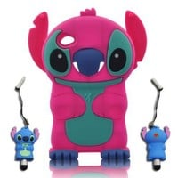 3D Stitch & Lilo ipod touch 4 Soft Silicone Case Cover Faceplate Protector For itouch 4g 4th Generation - Hot Pink