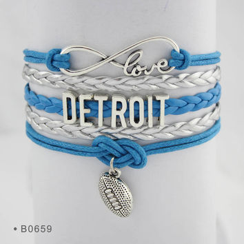 Infinity Love Football Bracelet - Detroit Football