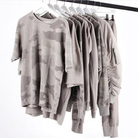 Kpop Oversized T Shirt Men Fashion Shirts Men Clothes Kanye West Camo Camouflage Urban Yeezy season Yeezus Half Sleeve Tee
