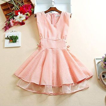 Streetstyle  Casual Pink Patchwork Hollow-out Zipper Grenadine Drawstring Double-deck Fashion Mini Dress