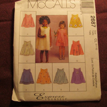 SALE Uncut McCall's Sewing Pattern, 2687! 6-7-8 Girls/Child/Kids/Express Yourself Designs/Sleeveless A-line Dresses/Scoop Neckline/Sheer Ove