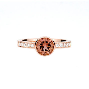 SIZE 5.75 to 6, Salmon pink tourmaline solitaire engagement ring made from rose gold, diamond engagement, pink, rose gold solitaire, bezel