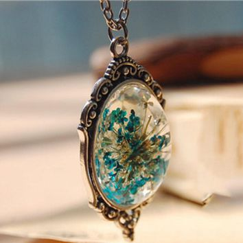 2016 New Department of forestry original natural dried flowers Small pure and fresh pendant necklace 1 Pcs