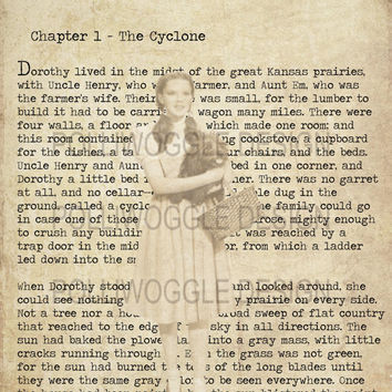 Wizard Of Oz, Dorothy Gale, Book, Print, in A3 or A4 format